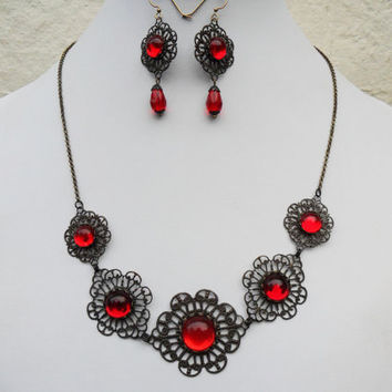 Victorian classic jewellery set, necklace and earrings, ox brass filigree, Siam red German glass cabs, evening jewellery set, gothic set