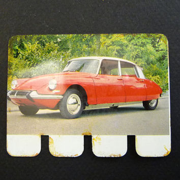 60's vintage advertising plaque, Peugeot 404, old cars collection, french COOP stores, made in France, french vintage toy