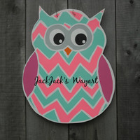 Owl door hanger Wood door hanger Summer door art Door Art  Hospital door hanger Owl decor wood garden stake custom made Jack Jack's Wayart