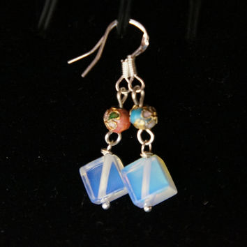 Sterling Silver Opal Earrings - Cloisonne Earrings - Opal Pendant