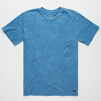Rvca Label Mineral Wash Mens T-Shirt Blue  In Sizes