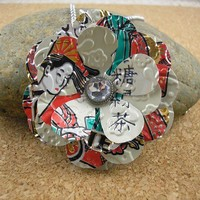 Soda Can Art  Upcycled Statement Necklace Geisha   New by jillmccp