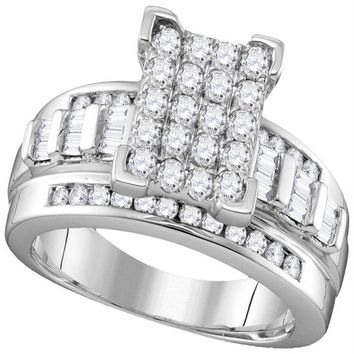10kt White Gold Womens Round Diamond Rectangle Cluster Bridal Wedding Engagement Ring 7-8 Cttw - Size 10