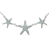 LOVEsick Silver Tone Turquoise Starfish Necklace