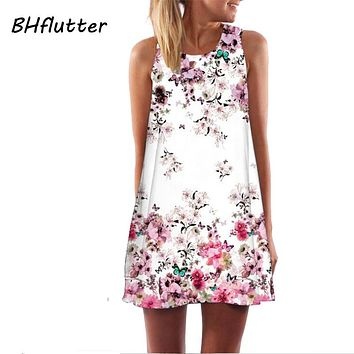 BHflutter Women Dress New 2018 Summer Style Short Dress Floral Print Casual Woman Chiffon Dresses Boho Beach Dresses Vestidos