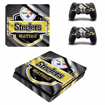 Pittsburgh Steeler PS4 Slim Skin Sticker For Sony PlayStation 4 Console and 2 Controllers PS4 Slim Skin Sticker Decal