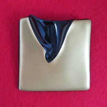 Vintage Rosenthal Germany Modernist Glass Brooch, Studio Linie, Johan Van Loon Pin
