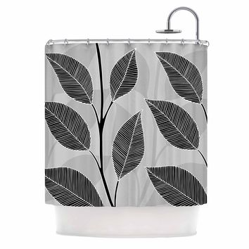"julia grifol ""Black Leaves"" Gray Black Floral Pattern Vector Digital Shower Curtain"