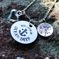 Personalized Couple Necklace - Personalized Navy Wife or Girlfriend - Personalized Navy Necklace - Personalized Military Jewelry