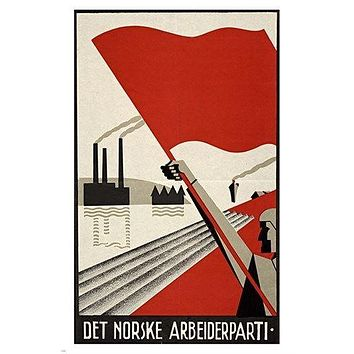 PROPAGANDA POSTER 1930 the norwegian labour party FLAG FACTORIES BOLD 24X36