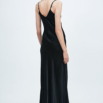 Ghost Mel Long Satin Slip Dress in Black - Urban Outfitters