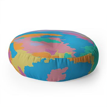 Rosie Brown Art Map Floor Pillow Round