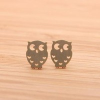 OWL stud earrings in gold  by bythecoco on Zibbet