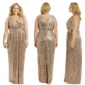 Gold Wedding Prom Long Gowns Plus Size Elegant Champagne Rose Gold Bridesmaid Dress 2015 Sequins Bling Gold Bridesmaid Dresses