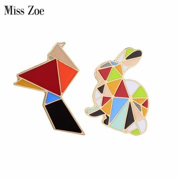 Trendy Miss Zoe Origami Animal Bird Rabbit Bunny Brooch Button Pins Denim Jacket Pin Badge Cartoon Cute Jewelry Gift for Kids AT_94_13