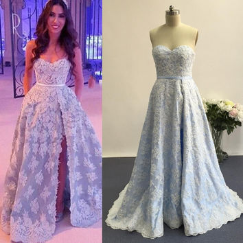 Sweetheart Prom Dresses,Light Blue Prom Dress,Long Evening Dress