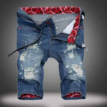 Men Men's Fashion Fashion Ripped Holes Denim Strong Character Jeans [1922680291421]