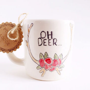 Oh Deer Mug - Antler with Flowers - Ceramic Coffee Mug