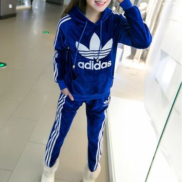 """Winter """"Adidas""""  Fashion Hooded Top Pants Trousers Set Two-Piece"""