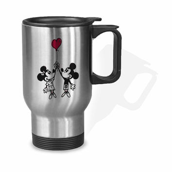 Baloon Love Mickey and Minnie mouse Stainless Mug