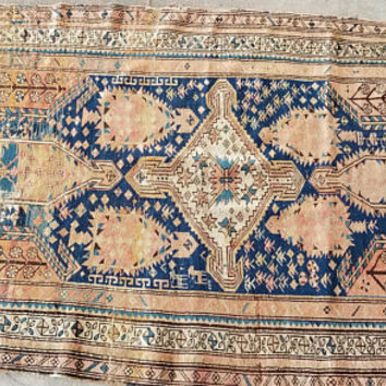 Antique Turkish Anatolian Distressed Rug 66 by 42 Inch