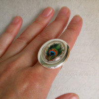 Vintage Colourful Peacock Feather ,Silver Plated Drop Cabochon Setting on a Ring