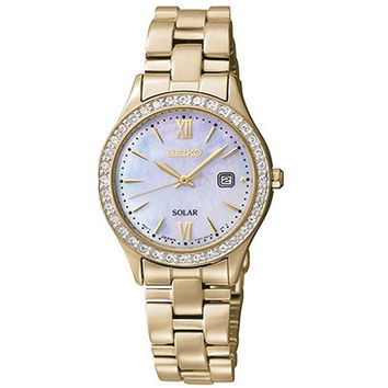 Seiko SUT076 Women's Solar Mother of Pearl Dial Gold Plated Steel Bracelet Watch