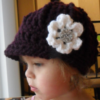 Baby Newsboy Cap with Flower  Plum Frosty by SoLaynaInspirations