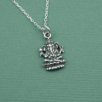 Tiny Ganesh Necklace - sterling silver yoga jewelry - charm - remover of obstacles - gift