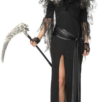 Black Hooded Lace Accent Grim Reaper Costume