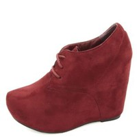 Lace-Up Platform Wedge Booties by Charlotte Russe - Oxblood