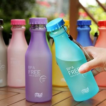 6 Candy Colors Unbreakable Frosted Leak-proof Plastic Cup 550mL BPA Free Portable Water Bottle for Travel Yoga Running Camping