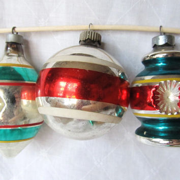 Vintage 1950's Striped Set Of 3 Christmas Ornaments, 2 Indented, 1 Shiny Brite