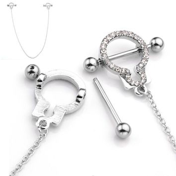 Ayliss Hot Stainless Steel Handcuffs Cubic Zirconia Crystal Nipple Shield Silvery Sexy Nipple Piercing Jewelry For Girl Women