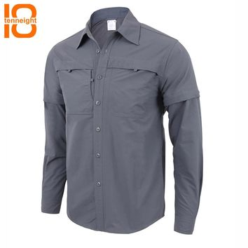 TENNEIGHT Outdoor sports shirts Military tactical shirt quick-drying breathable detachable Men's Shirts Hiking climbing shirt