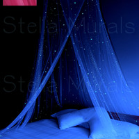 Glow in the Dark Stella Star Canopy - Pink - surround your bed with stars!