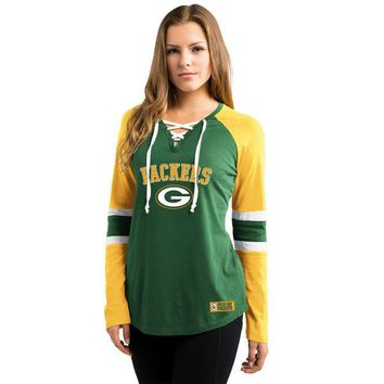 Women's Green Bay Packers Majestic Green/Gold Winning Style Long Sleeve T-Shirt