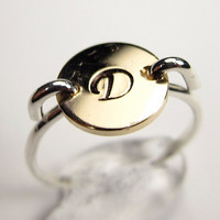 Mixed Metal Initial Ring- Silver Ring with Gold Monogram- Fancy Letter Ring- Personalized Gift