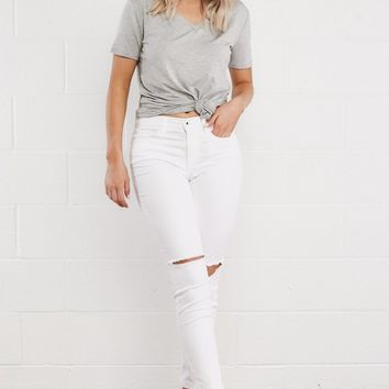 Sophia Mid Rise Denim in White