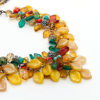 Chunky Southwestern Necklace, Statement Necklace Yellow Teal Orange, Florwer Necklace, Wedding Jewelry