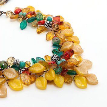 Chunky Southwestern Necklace, Statement Necklace Yellow Teal Orange, Floral Necklace, Wedding Jewelry
