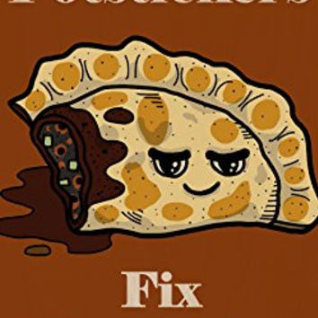 'Potstickers Fix Everything' Food Humor Cartoon - Plywood Wood Print Poster Wall Art