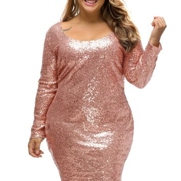 Chicloth Sequin Plus Size Long Sleeve Dress