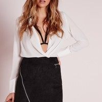 Missguided - Zip Detail Faux Suede Mini Skirt Black