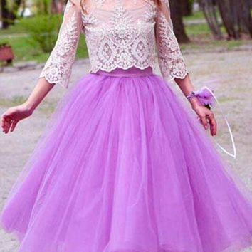 New Purple Grenadine Pleated High Waisted Tulle Tutu Homecoming Party Cute Elegant Long Skirt