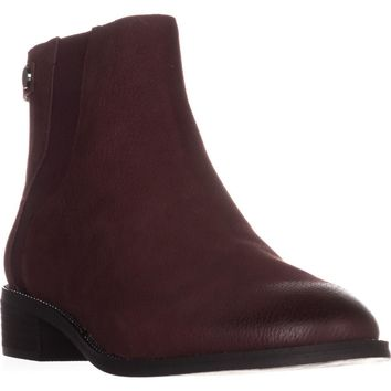 Franco Sarto Brandy Flat Casual Ankle Boots, Burgundy, 9.5 US / 39.5 EU