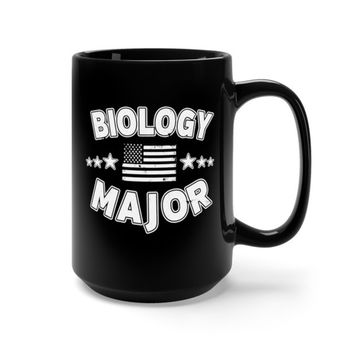 Biology Student Black 15 oz Mug Distressed Design American Flag Stars College Major Gift For College Student Gifts Cup