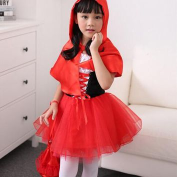 100-160cm Little Red Riding Hood cosplay carnival kid child suit party costume halloween  role-playing dress+cloak girl  uniform