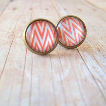 Z I G Z A G - Coral Peach and White Triangle Geo Zig Zag Tribal Photo Glass Cab Circle Antique Bronze Post Earrings