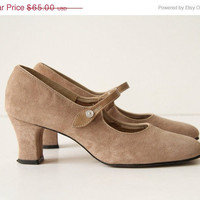 30% off SALE Birch Suede Mary Janes - 60s Hush Puppies
